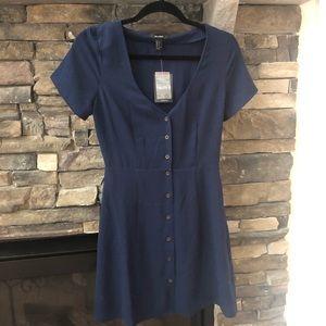 New navy blue button down dress